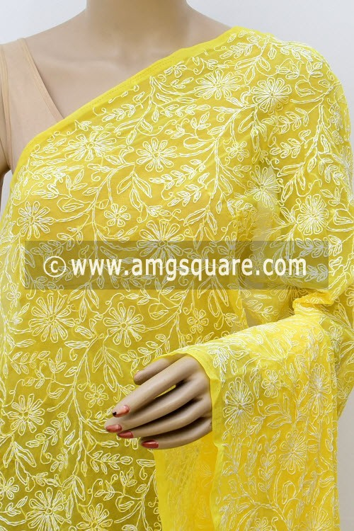 Yellow Hand Embroidered Allover Tepchi Work Lucknowi Chikankari Dupatta (Georgette) 17986