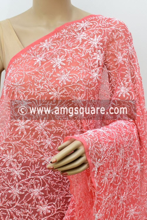 Peach Hand Embroidered Allover Tepchi Work Lucknowi Chikankari Dupatta (Georgette) 17987