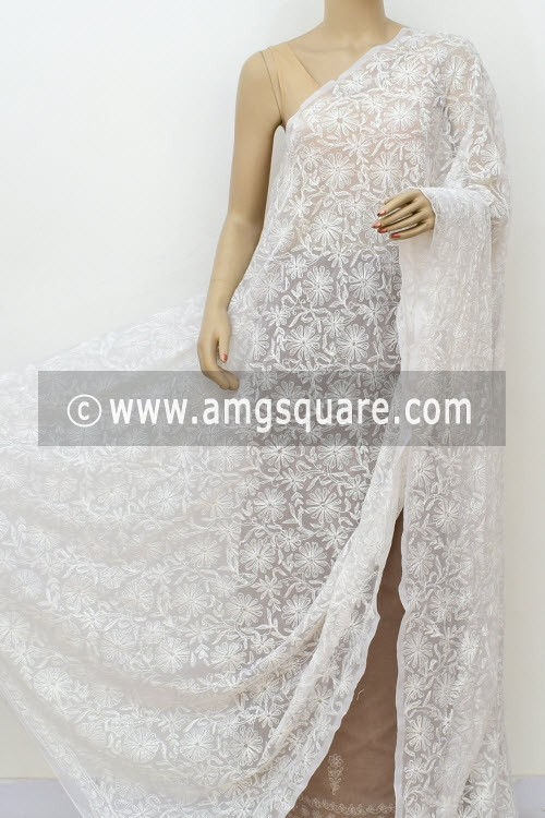 White Hand Embroidered Allover Tepchi Work Lucknowi Chikankari Dupatta (Georgette) 17988