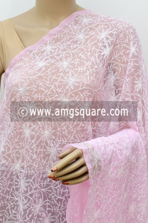 Baby Pink Hand Embroidered Allover Tepchi Work Lucknowi Chikankari Dupatta (Georgette) 17989