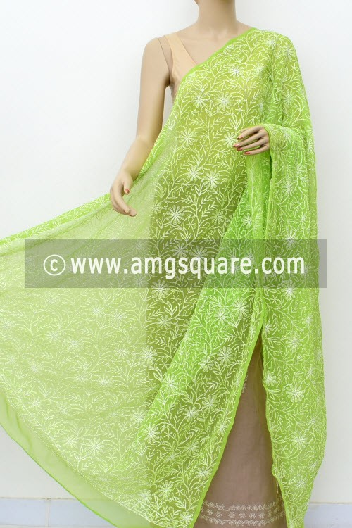 Parrot Green Hand Embroidered Allover Tepchi Work Lucknowi Chikankari Dupatta (Georgette) 17991