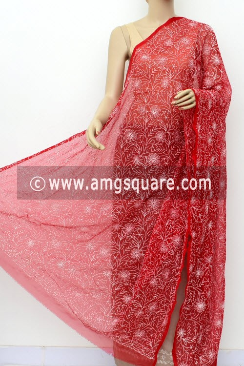 Red Hand Embroidered Allover Tepchi Work Lucknowi Chikankari Dupatta (Faux Georgette) 17992