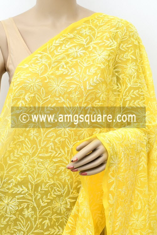 Mango Yellow Hand Embroidered Allover Tepchi Work Lucknowi Chikankari Dupatta (Faux Georgette) 17993