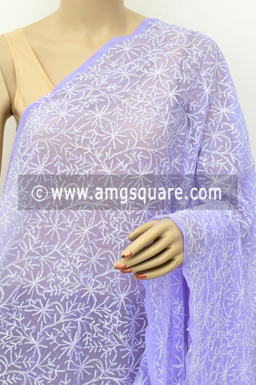 Lavender Hand Embroidered Allover Tepchi Work Lucknowi Chikankari Dupatta (Faux Georgette) 17994