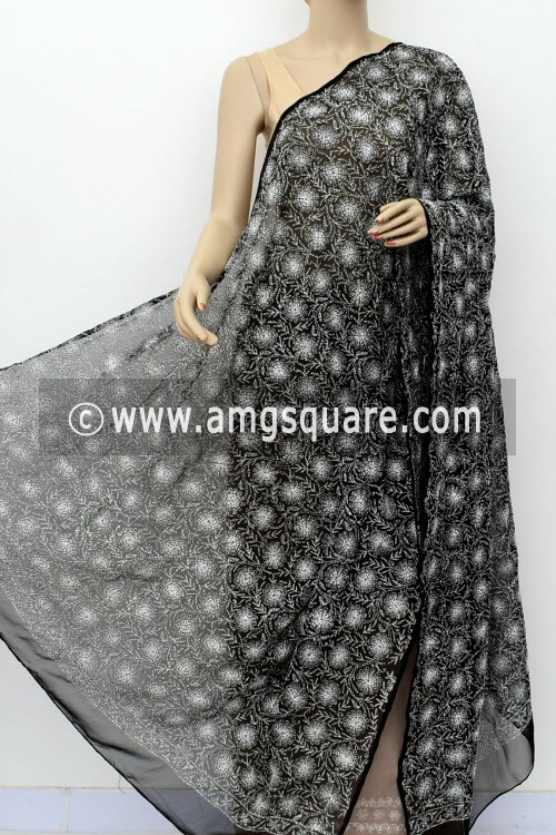 Black Hand Embroidered Allover Tepchi Work Lucknowi Chikankari Dupatta (Faux Georgette) 17996