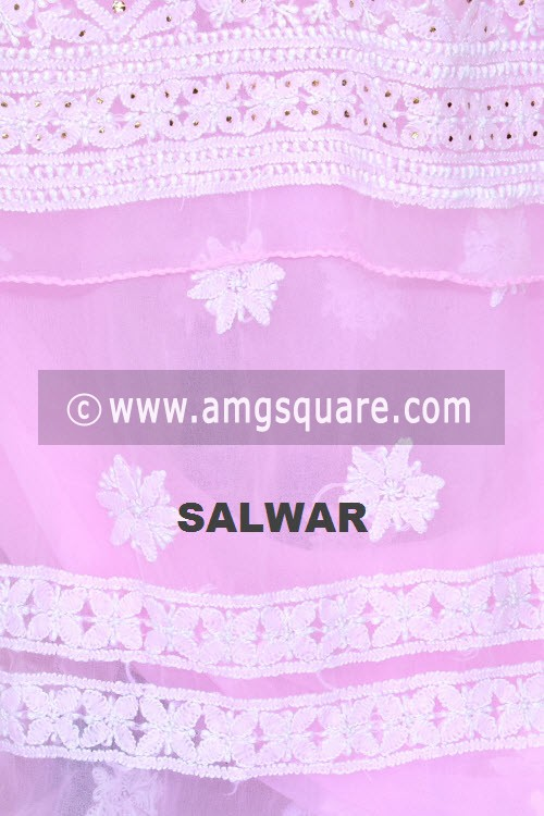 Pink Un-Stitched Hand-Embroidered Lucknowi Chikankari Salwar Kameez (Georgette) Mukaish Work 18000