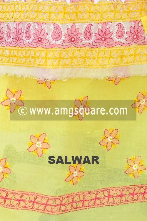 White Yellow Pink Un-Stitched Hand-Embroidered Lucknowi Chikankari Salwar Kameez (Cotton) Daraz Work 18003