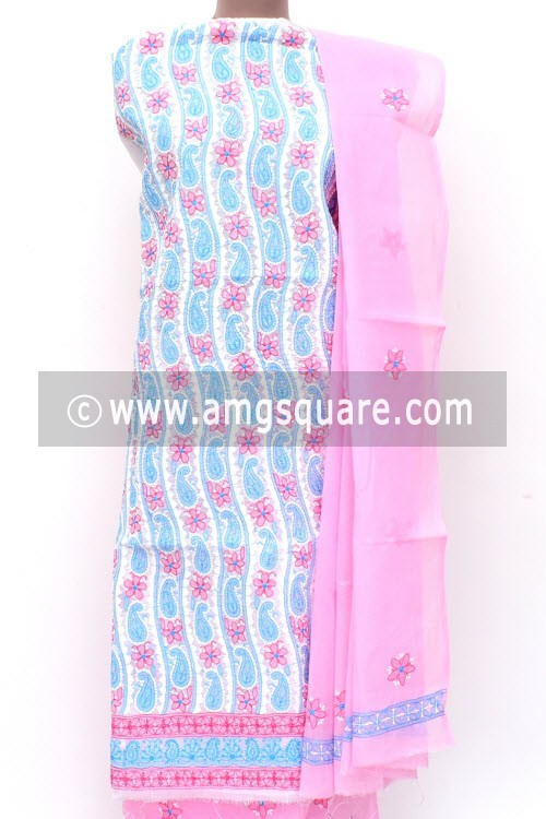 White Pink Blue Un-Stitched Hand-Embroidered Lucknowi Chikankari Salwar Kameez (Cotton) Daraz Work 18004