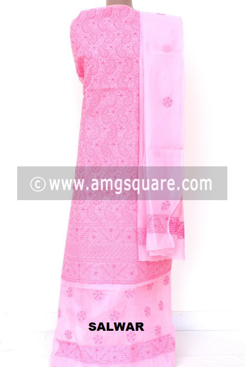 Pink Un-Stitched Allover Hand-Embroidered Lucknowi Chikankari Salwar Kameez (Cotton) Heavy Work 18008