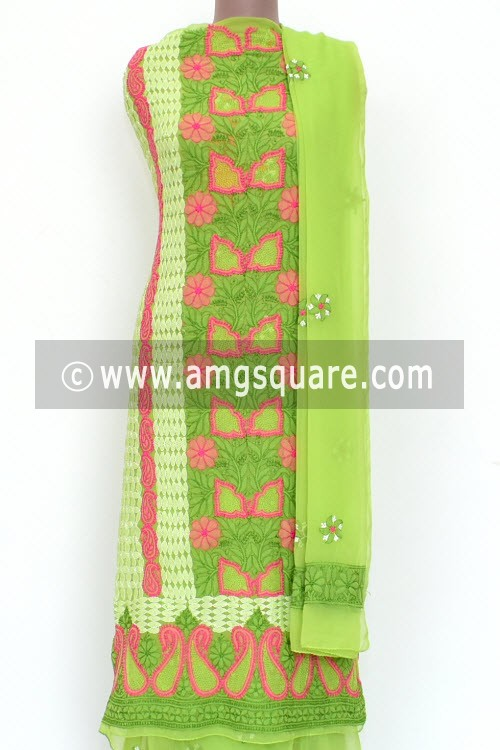 Green Pink Un-Stitched Allover Hand-Embroidered Lucknowi Chikankari Salwar Kameez (Georgette) 18012