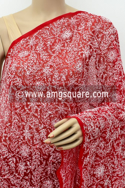 Red Hand Embroidered Allover Tepchi Work Lucknowi Chikankari Dupatta (Faux Georgette) 18027