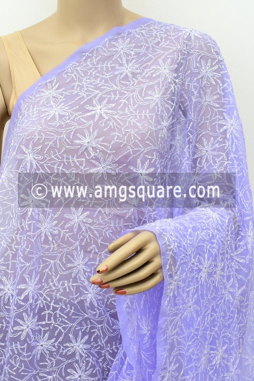 Lavender Hand Embroidered Allover Tepchi Work Lucknowi Chikankari Dupatta (Faux Georgette) 18028