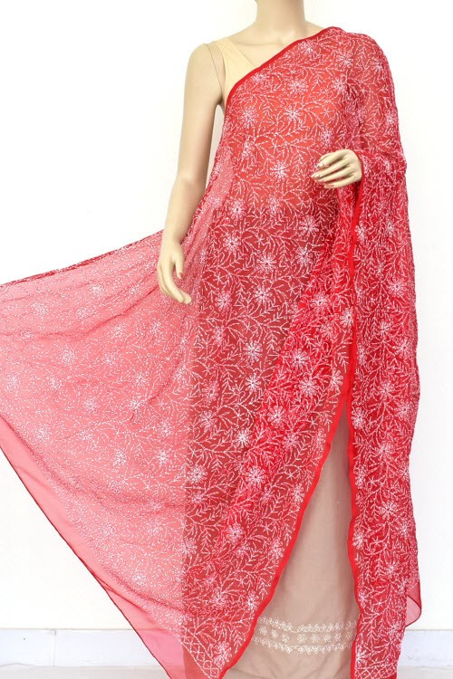 Red Hand Embroidered Allover Tepchi Work Lucknowi Chikankari Dupatta (Faux Georgette) 18039