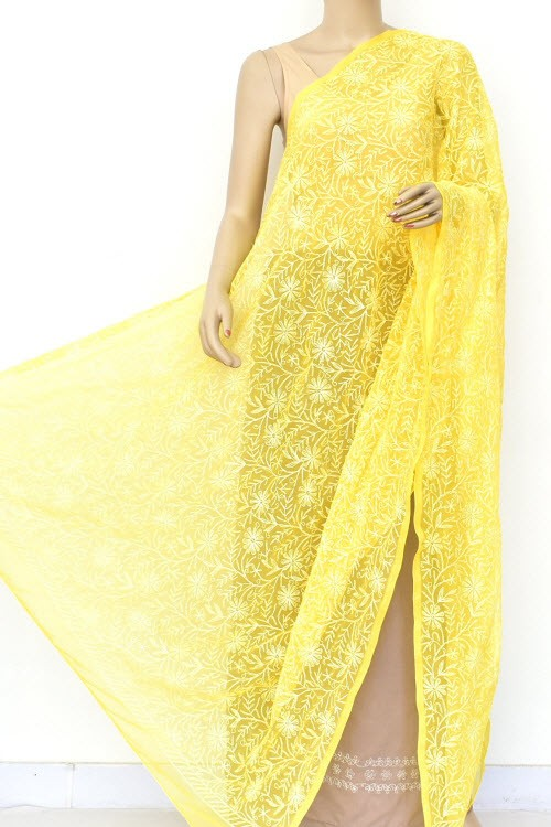 Yellow Hand Embroidered Allover Tepchi Work Lucknowi Chikankari Dupatta (Faux Georgette) 18040