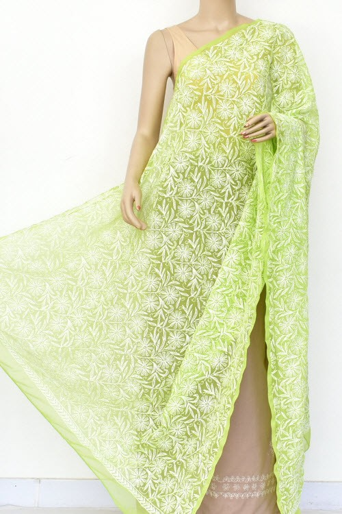 Pista Green Hand Embroidered Allover Tepchi Work Lucknowi Chikankari Dupatta (Faux Georgette) 18041