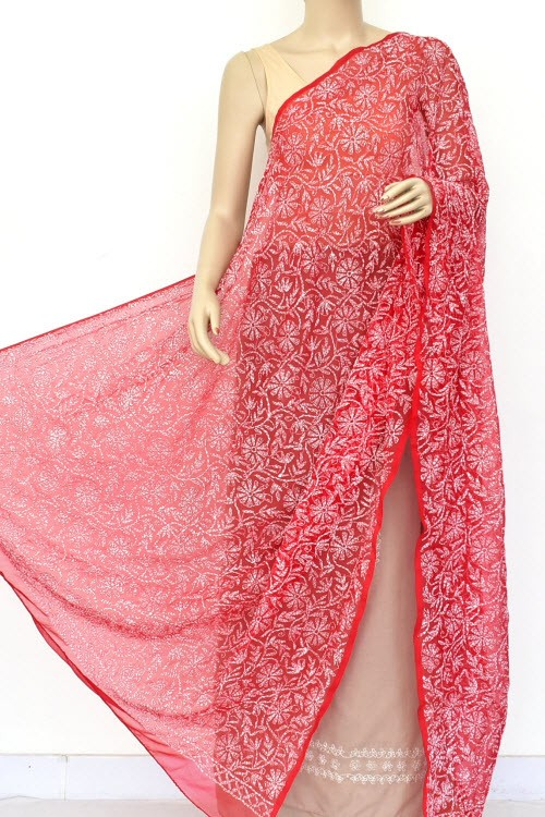 Red Hand Embroidered Allover Tepchi Work Lucknowi Chikankari Dupatta (Faux Georgette) 18046