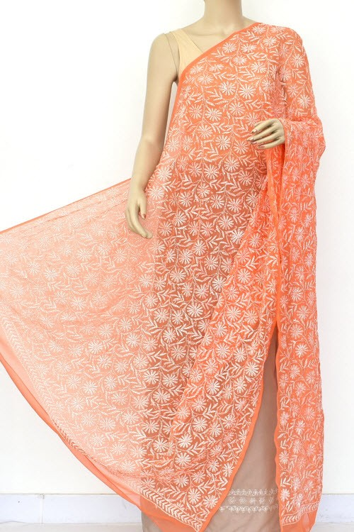 Orange Hand Embroidered Allover Tepchi Work Lucknowi Chikankari Dupatta (Faux Georgette) 18049