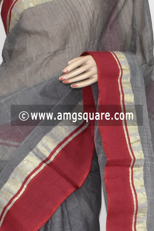Grey Red Border Handwoven Bengal Tant Cotton Saree (Without Blouse) 13265