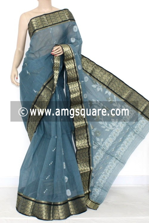 Steel Grey Handwoven Bengal Tant Cotton Saree (Without Blouse) 14009