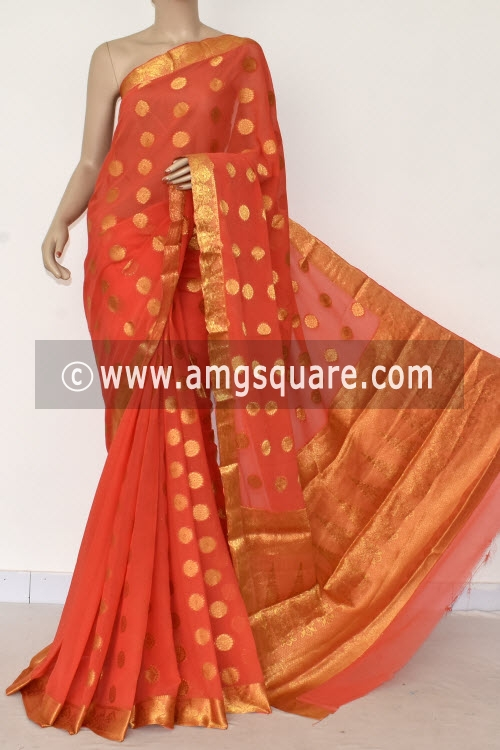 Peach Handloom Semi-Chiffon Saree (with Blouse) Allover Zari Border and Booti 16194