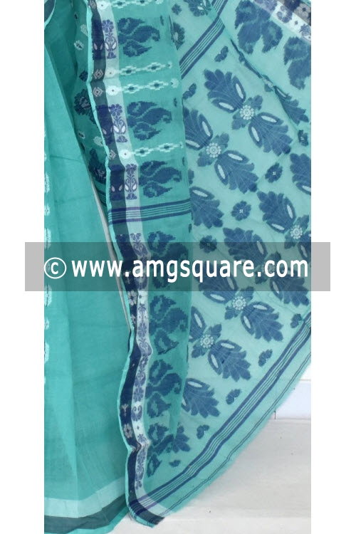 Sea Green Handwoven Bengali Tant Cotton Saree (Without Blouse) 14069