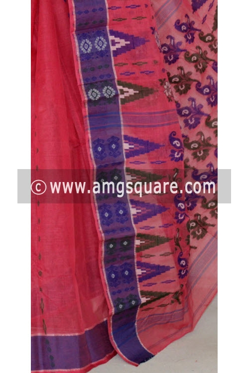 Dark Peach Handwoven Bengal Tant Cotton Saree (Without Blouse) 14154