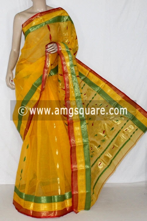 Golden Yellow Handwoven Bengal Tant Cotton Saree (Without Blouse) Zari Border 14192