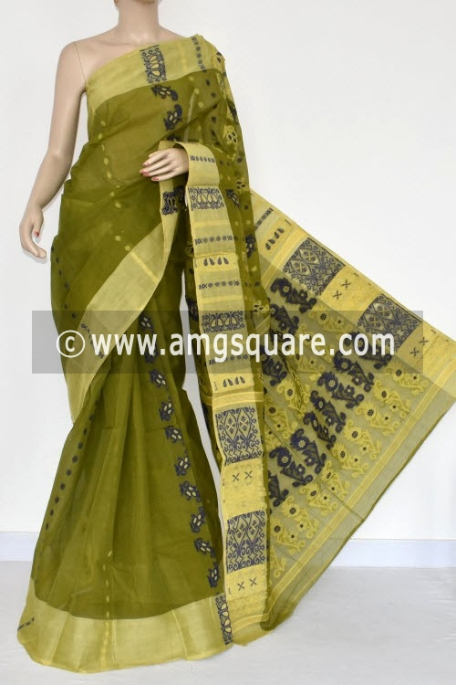 Menhdi Green Handwoven Bengal Tant Cotton Saree (Without Blouse) 14162