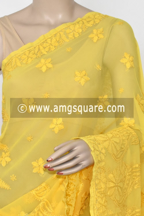 Golden Yellow Designer Hand Embroidered Lucknowi Chikankari Saree (With Blouse - Georgette) 14616