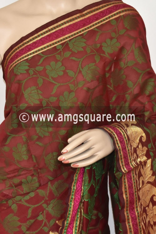 Maroon Handloom Banarasi Semi Cotton Saree (with Blouse) Zari Border Resham Weaving 16233