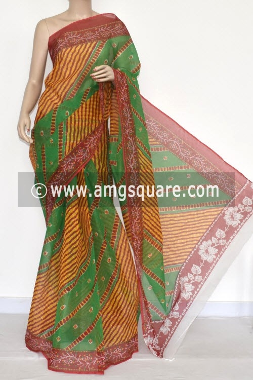 Green Red JP Kota Doria Printed Cotton Saree (without Blouse) 15333