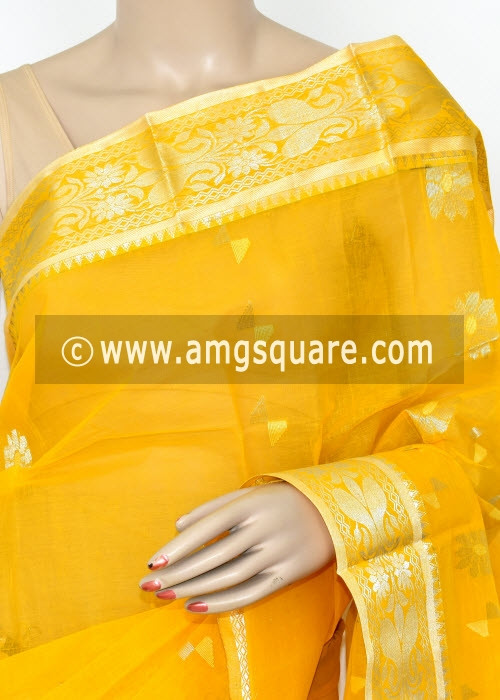 Turmeric Yellow Handwoven Bengal Tant Cotton Saree (Without Blouse) Zari Border 17002