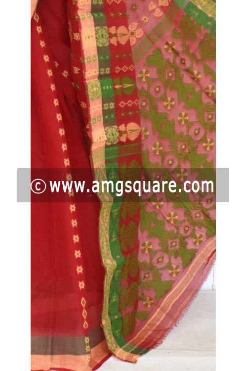 Red Handwoven Bengal Tant Cotton Saree (Without Blouse) 14082