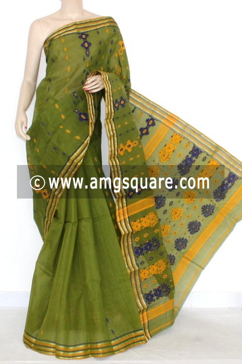 Menhdi Green Handwoven Bengal Tant Cotton Saree (Without Blouse) 14020