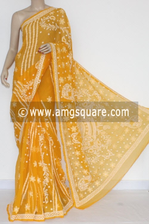 Mustared Yellow Designer Hand Embroidered Lucknowi Chikankari Saree (With Blouse - Georgette) 14493