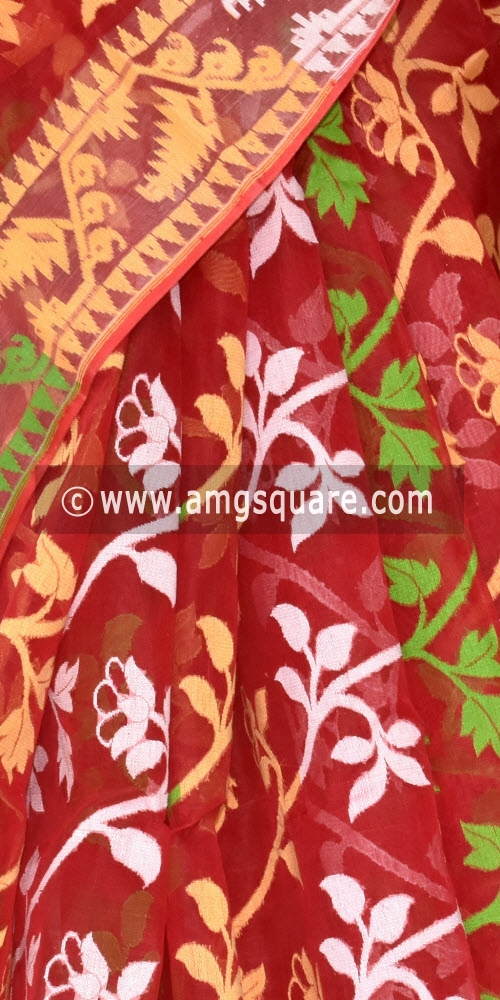 Red Handwoven Bengali Tant Kora Cotton Jamdani Saree (Without Blouse) 17213