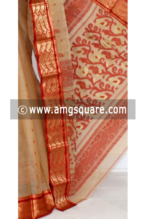 Fawn Handwoven Bengal Tant Cotton Saree (Without Blouse) Zari Border 14103