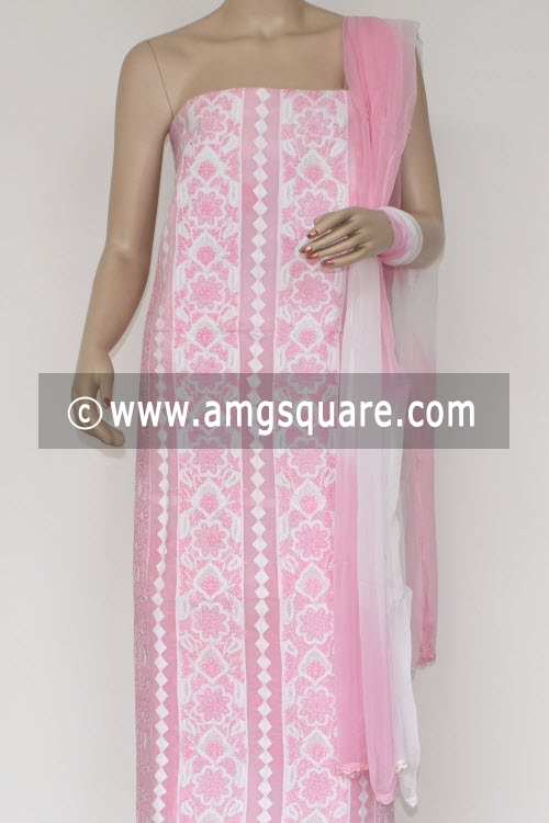 Pink Un-Stitched Hand-Embroidered Lucknowi Chikankari Salwar Kameez (Cotton) 17863