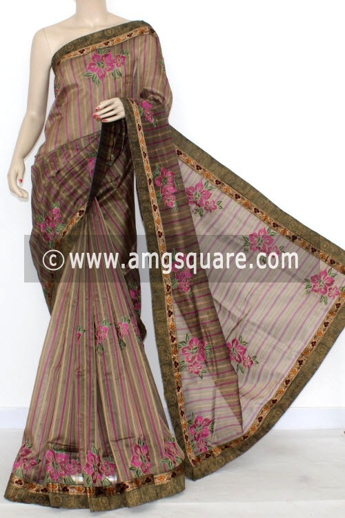 Magenta Designer Supernet Embroidered Saree (With Blouse) Floral Border 16159