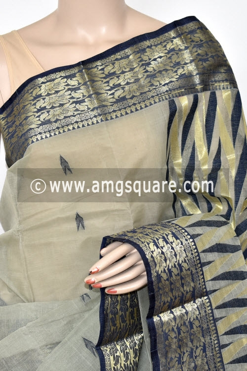 Grey Handwoven Bengal Tant Cotton Saree (Without Blouse) Zari Border 17421