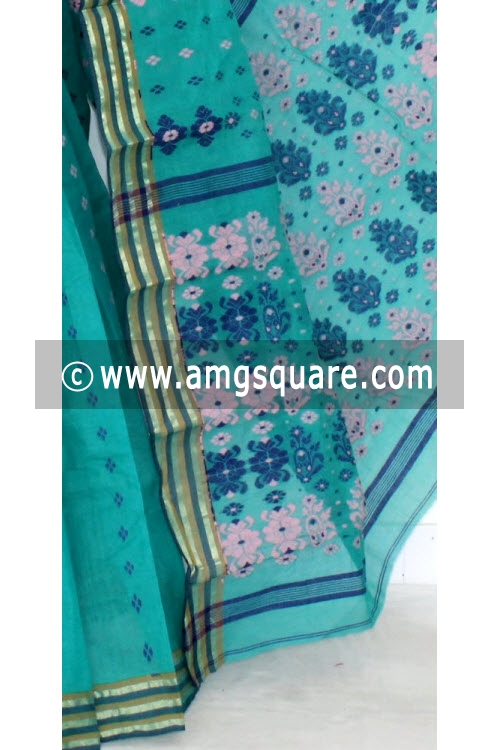 Sea Green Handwoven Bengal Tant Cotton Saree (Without Blouse) 14021