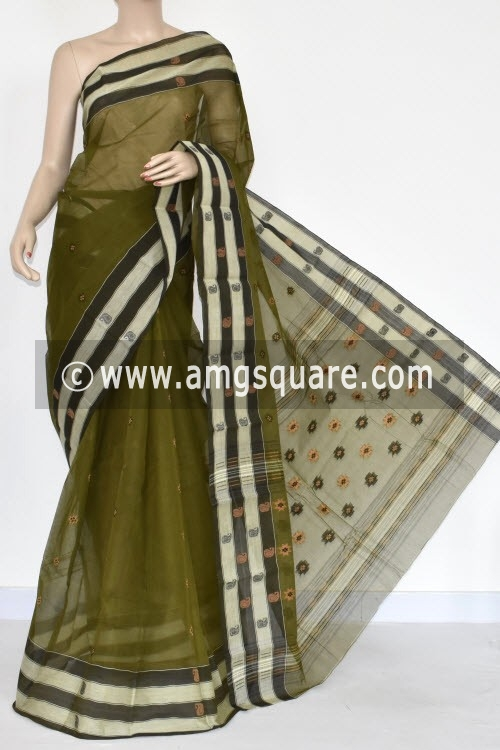 Menhdi Green Handwoven Bengal Tant Cotton Saree (Without Blouse) 17151