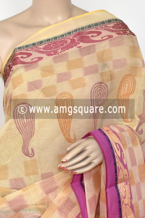 Cream Move Printed Handwoven Bengal Tant Cotton Saree (Without Blouse) 17147