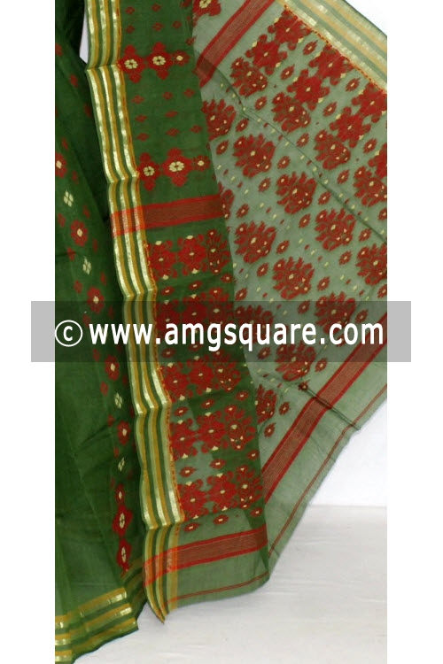 Bottle Green Handwoven Bengal Tant Cotton Saree (Without Blouse) 14019