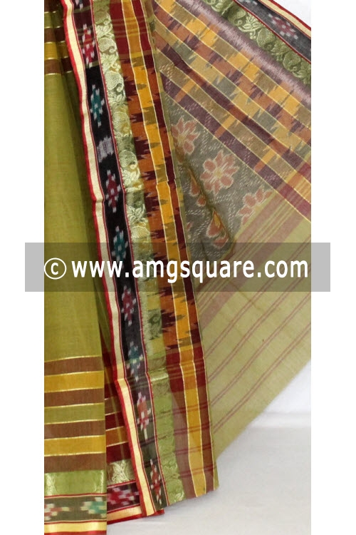 Menhdi Green Maroon Dhaniakhali Handwoven Bengali Tant Cotton Saree (Without Blouse) Kotki Border 13939