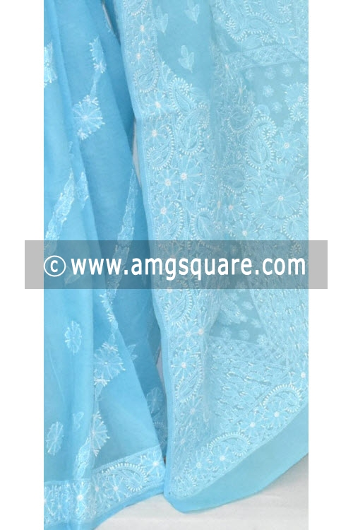 Sky Blue Hand Embroidered Lucknowi Chikankari Saree (With Blouse - Cotton) 14673