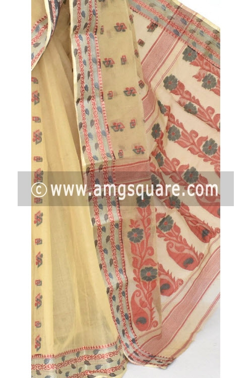 Fawn Handwoven Bengal Tant Cotton Saree (Without Blouse) Resham Border 14142