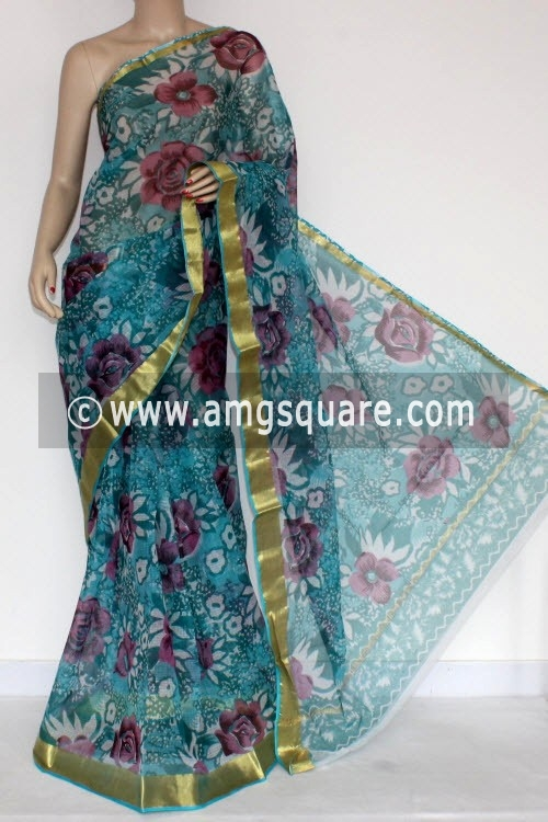 Pherozi Blue JP Kota Doria Printed Cotton Saree (without Blouse) Zari Border 13571