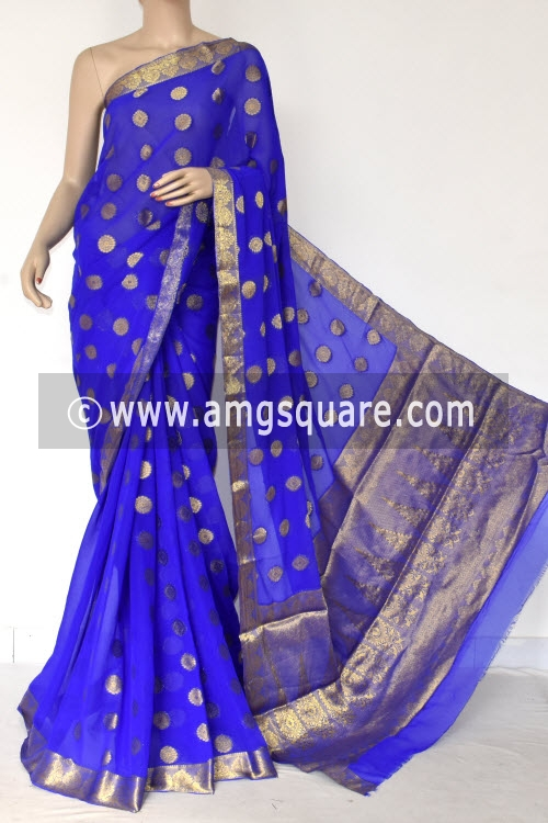 Royal Blue Handloom Semi-Chiffon Saree (with Blouse) Allover Zari Border and Booti 16193