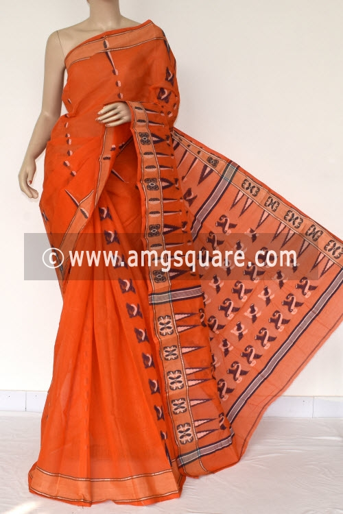 Orange Handwoven Bengali Tant Cotton Saree (Without Blouse) 14046